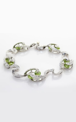 18K White Gold Diamond & Peridot Bracelet #DBRSP00323 product image
