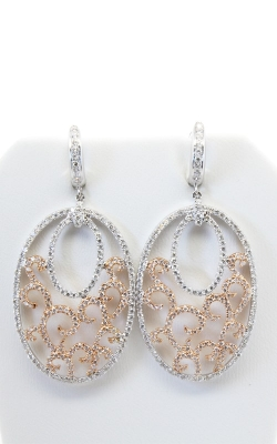 18K White & Rose Gold Diamond Drop Earrings #DERHI01704 product image