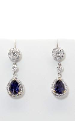 18K Two-Tone Diamond & Iolite Earrings #DERSP05194 product image