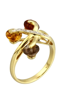 14K Diamond, Citrine, & Smoky Quartz Ring #DRSP11981 product image