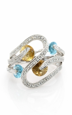14K Diamond, Blue Topaz, & Citrine Ring #DRSP11999 product image