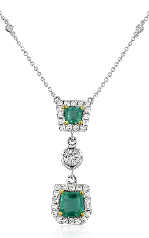 18K Two-Tone Diamond & Emerald Necklace #DPP04453 product image