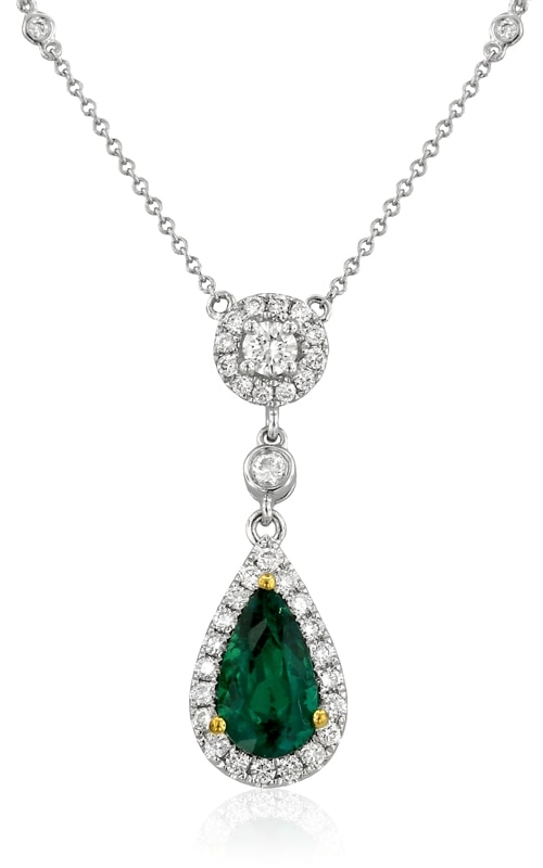 18K Two-Tone Diamond & Emerald Necklace #DPP05201 product image