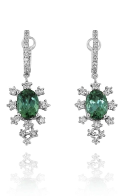 Yael Designs 18K White Gold, Diamond & Green Tourmaline Dangle Earrings, DERSP05595 product image