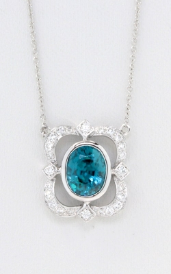 Oval Blue Zircon & Diamond Necklace DPSP09430 product image