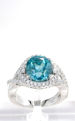 Diamond Crossover Oval Blue Zircon Ring DRSP12724 product image