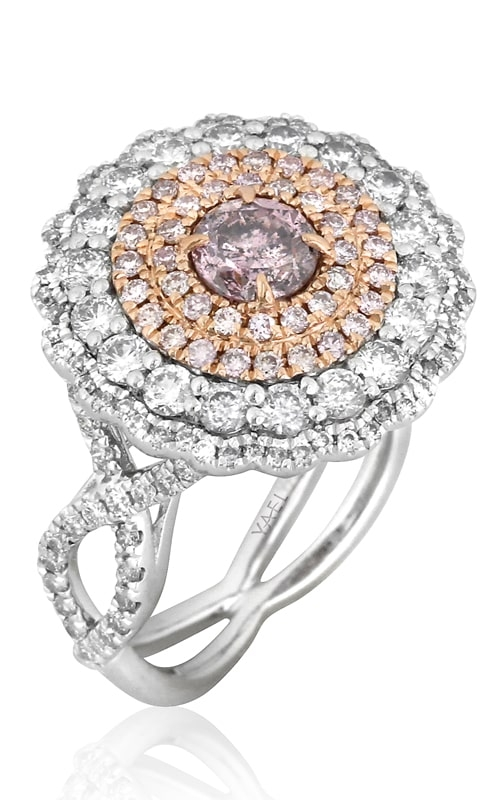 Platinum-18K Rose Gold Pink & White Diamond Ring product image