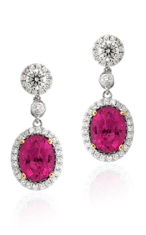 18K Diamond & Pink Tourmaline Earrings DEREX01535 product image