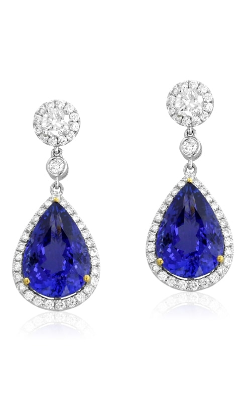 18K Two-Tone Diamond & Tanzanite Earrings #DEREX01553 product image