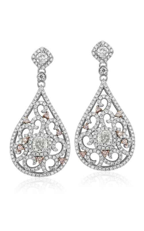 18K White & Pink Diamond Earrings #DERHI01697 product image