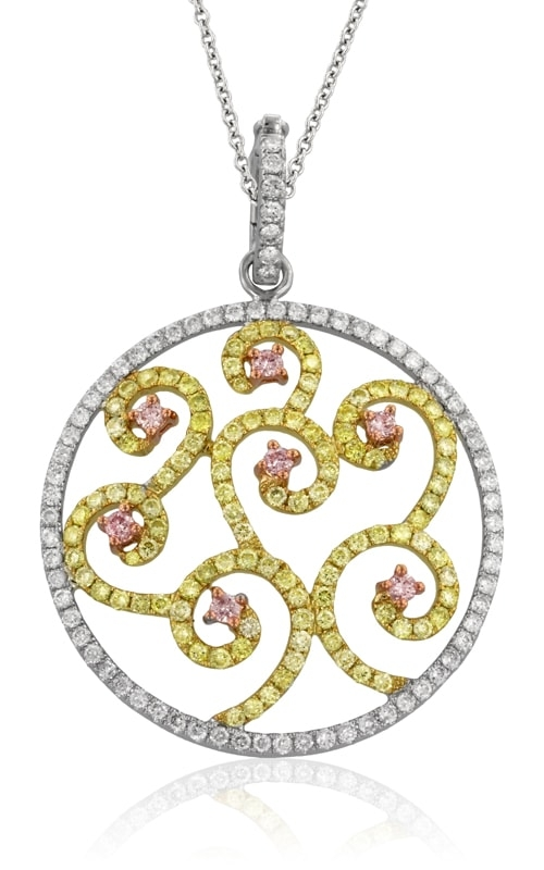 18K Two-Tone White, Yellow, & Pink Diamond Pendant #DPMD05121 product image