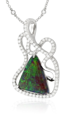 Yael Designs Custom 18K White Gold Diamond & Black Opal Pendant, Item# LGACY00114 product image